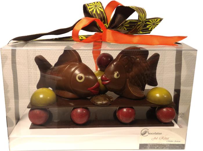 Boite Bambou : Chocolats rosa p ques en chocolat